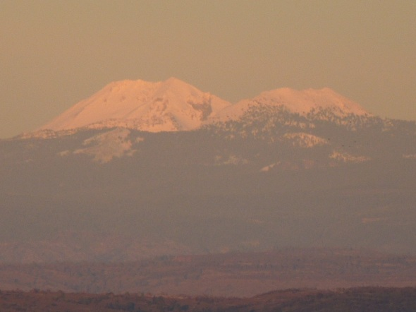Mount Lassen and Brokeoff from I-5 at sunset, December 10, 2012