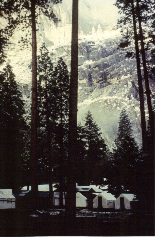 Yosemite 1994 - Curry Village tent cabins after snow