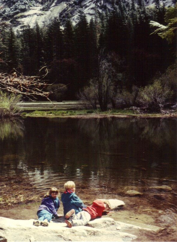 Yosemite 1994 - kids by Mirror Lake