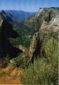Looking down on Angel's Landing and down Zion Canyon