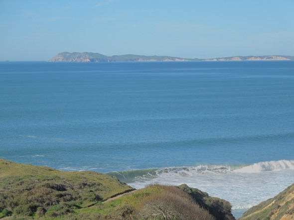 Looking northwest, Point Reyes and Drakes Bay in the distance