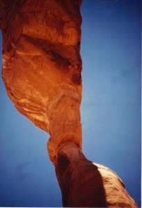 Looking up from beneath Delicate Arch