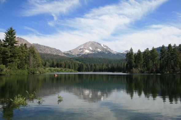 Lassen Park - Manzanita Lake with boat