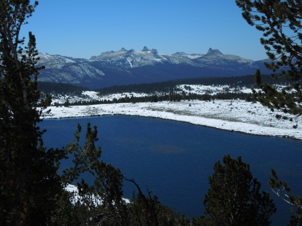 Middle Gaylor Lake, Cathedral and Unicorn Peaks in the distance