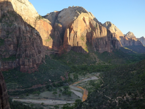 Zion Canyon and the Virgin River at evening.