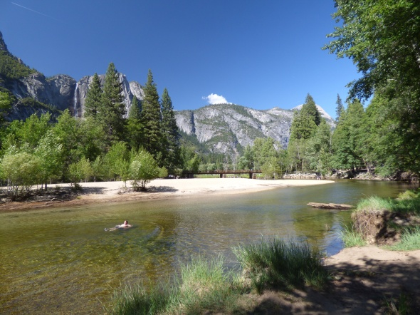 The Merced River flows through Yosemite Valley