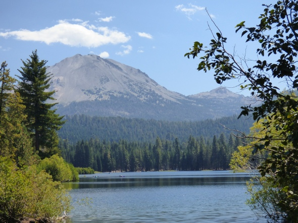 Lassen Peak from the shore of Manzanita Lake