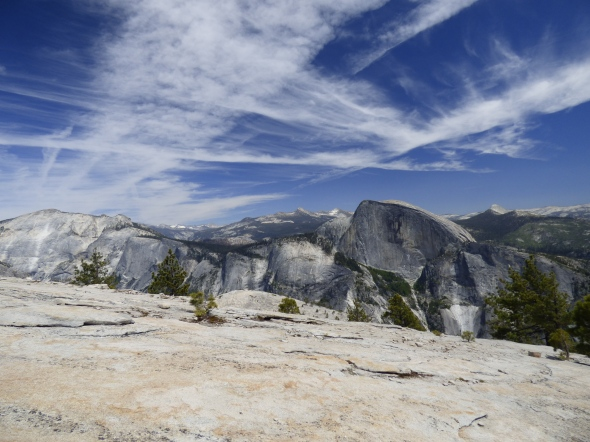 Clouds Rest on the left, and Half Dome